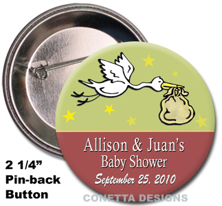 Stork Baby Shower Buttons