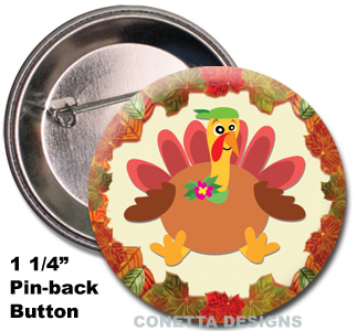 Quirky Turkey Buttons (Mini)