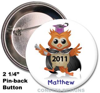 Kids Owl Graduation Buttons