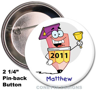 Kids Pencil Graduation Buttons