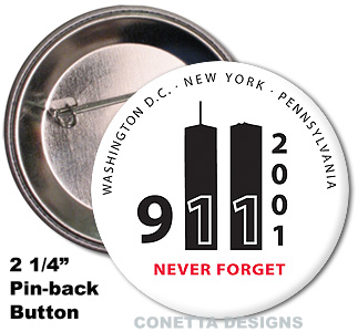 9-11 Memorial Never Forget Buttons