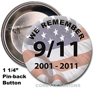9-11 We Remember Buttons (Mini)