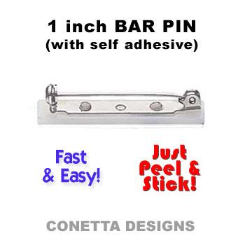 1 inch Bar Pins - Self-Adhesive